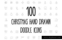 100枚圣诞节手绘图标 100 Christmas Hand Drawn Icons