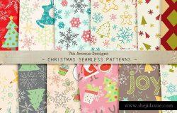 圣诞节主题元素图案纹理 Christmas Seamless Patterns