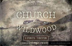 怀尔德伍德教堂装饰物图案字体 Church in the Wildwood Ornaments