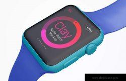 Apple Watch手表表盘UI界面设计效果图样机05 Clay Apple Watch Mockup