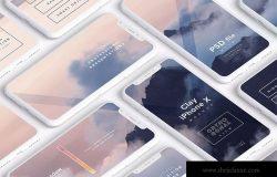 多个iPhone X智能手机屏幕等距平铺视觉样机模板 Clay iPhone X Mockup