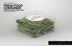 清新的新鲜食品容器样机展示模版mockups
