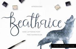 手写英文书法字体 Beathrice Script Font