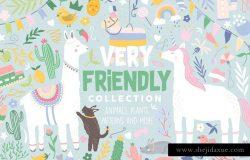 充满爱的手绘动植物剪贴画&纹理 Very Friendly Collection Pro