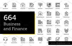 664款金融主题业务财务线条图标 664 Business and Finance Line Icons
