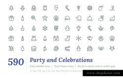 590枚派对和庆祝活动主题线条图标 590 Party and Celebrations Line Icon