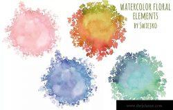 手绘水彩花卉元素框架/背景