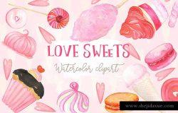 甜蜜水彩糖果甜点元素剪贴画 Love sweets. Watercolors clipart