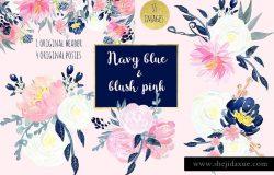 浪漫海军蓝粉色花卉水彩剪贴画合集