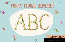 时尚的手绘花卉字母装饰图