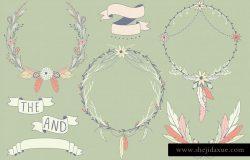 波西米亚风花环&印花剪贴画系列 Boho Wreaths & Florals Collection
