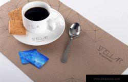 咖啡杯和餐垫咖啡品牌设计样机02 Coffee Cup and Placemat Mockup