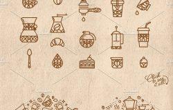 咖啡主题扁平化手绘线条图标插画 Coffee flat icons
