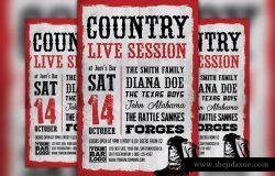 城市音乐复古文字排版海报模板 Country Live Session Flyer Template