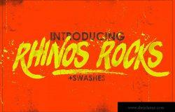 极具个性的画笔涂鸦英文字体 Rhinos Rocks +Swashes
