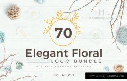70款优雅花卉装饰标志设计模板素材 70 Elegant Floral Logo Pack