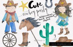 西部牛仔可爱风格水彩插画 Cowboy Party Watercolor Set