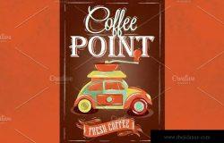 咖啡店复古海报模板