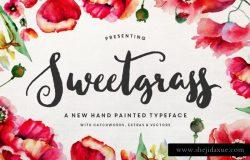 精致手绘卡片印刷英文字体 Sweetgrass Typeface
