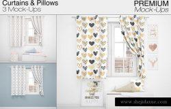 时尚简约的窗帘和枕头表面图案设计展示模型下载[psd]