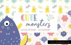 可爱的五颜六色怪物图案合集 Cute Monsters Patterns