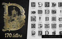 经典复古字母D装饰元素合集 Vintage Letter D Decorative Alphabet
