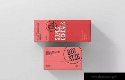 营养谷物食品包装大尺寸盒子样机 Cereals Box Mockup – Big Size