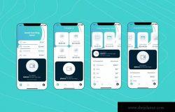 电子钱包APP应用用户中心UI界面模板[藏青配色方案]v6 Mobile Finance Home Ui – FD