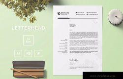 现代设计风格公开信/推荐信企业信纸设计模板03 Letterhead Template