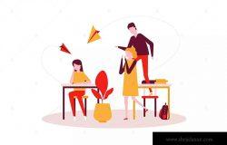 校园欺凌-彩色扁平设计风格矢量插画 Bullying – colorful flat design style illustration