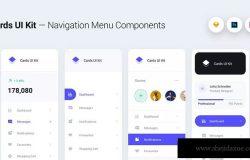 卡片式UI设计套件-网站导航菜单组件&小部件[基础模式] Cards UI Kit – Navigation Menu Components Widgets