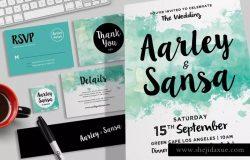 水彩风格婚礼婚宴邀请物设计素材集 Watercolor Wedding Invitation Set