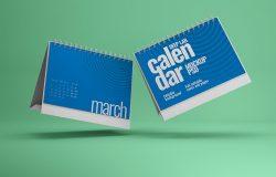 活页桌面日历设计效果图样机 Horizontal Desk Calendar Mockup