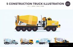 5个施工搅拌车/混凝土搅拌车矢量图形素材 5 Construction Mixer Truck Vector Illustration Set