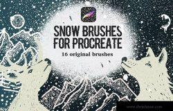 雪景手绘必备利器-Procreate雪花图案笔刷 Snow Brushes for Procreate