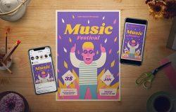 音乐节活动传单/海报设计模板