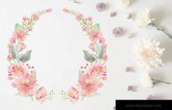 浪漫粉色调水彩花卉花环插画
