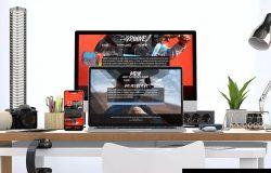 创意办公桌面响应式设计效果图预览样机