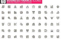 商业金融主题细线图标素材包
