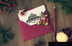 圣诞节信件/贺卡设计图样机模板