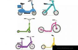 城市脚踏车和电动自行车矢量插画 City Kick Scooters and E Bikes Set