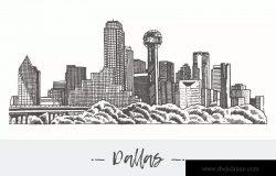 美国达拉斯城市天际线城市轮廓线矢量图形 Dallas skyline, USA