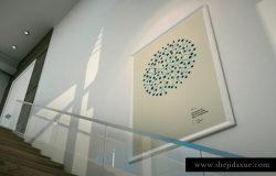 博物馆展厅室内画廊样机模型