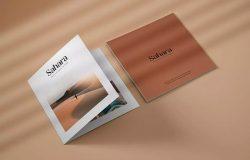 方形双折页小册子设计特写图样机