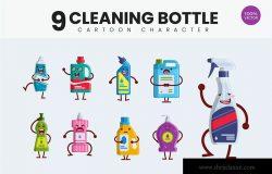 9个清洁瓶清洁工具可爱卡通形象矢量插画 9 Cute Cleaning Bottle Vector Illustration