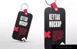 圆角矩形钥匙标签设计效果图样机 Rectangle Key Tag Mockups