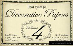 复古独特装饰元素纸张纹理第四卷 Real Vintage Decorative Papers Vol 4