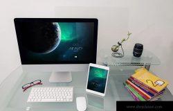 iMac&iPad桌面设备屏幕预览效果样机