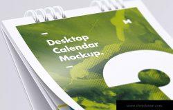 纵向桌面日历设计特写视图样机 Desktop Portrait Calendar Mockup Close Up View
