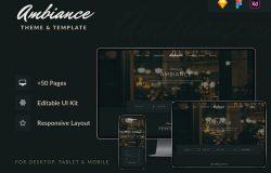 深色优雅主题餐厅/酒吧/咖啡馆响应式网站设计主题和模板